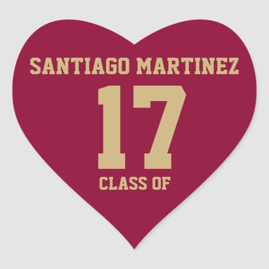 EDITABLE Crimson Red with Gold Text Graduation Heart Sticker