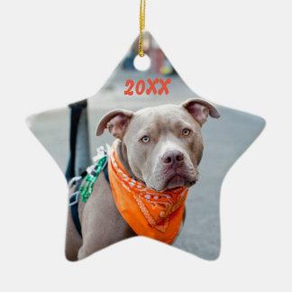 Editable Dog with Bandana Ceramic Ornament