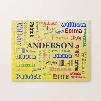 Editable Family Name Word Cloud Puzzle