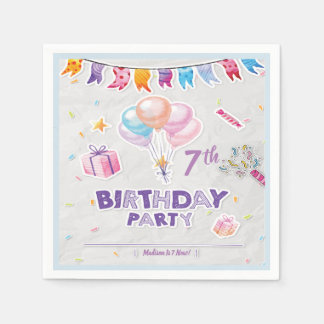 Editable Festive Kid's Birthday Party Napkins Paper Napkins