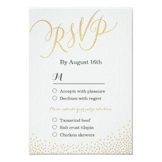 Editable glam faux gold glitter calligraphy RSVP Card