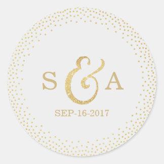 Editable gold glitter vintage wedding monogram round sticker