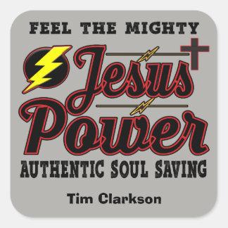 Editable Jesus Power Square Stickers
