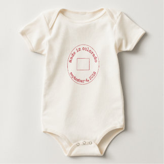 Editable Made in Colorado Stamp of Approval Baby Bodysuit