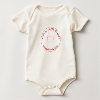 Editable Made in North Dakota Stamp of Approval Baby Bodysuit