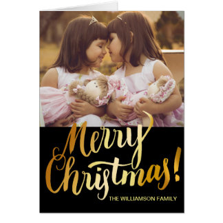 Editable Merry Christmas Card with Family Photo