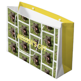 Editable Pitbull In Grass Large Gift Bag
