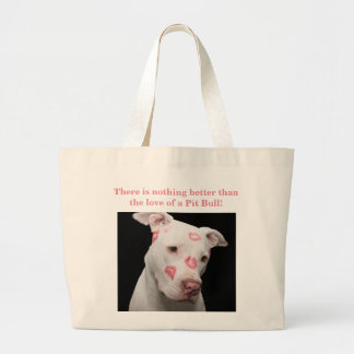 Editable Pitbull Lover Large Tote Bag