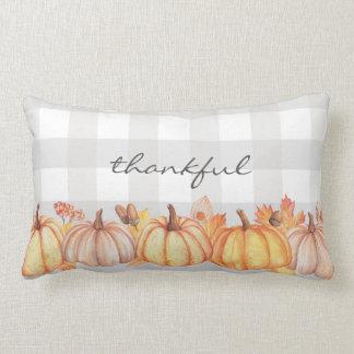 EDITABLE Pumpkin watercolor message pillow, name Lumbar Pillow
