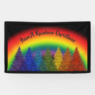 Editable Rainbow Christmas Tree Banner