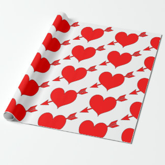 Editable Red Arrow Heart Valentines Day Wrapping Paper