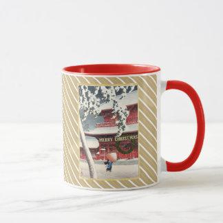 EDITABLE Ukiyo-e Faux Gold Monogram Holiday Mug