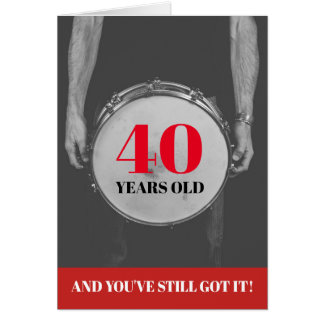Editable Year Age Drummer Percussion Birthday Card
