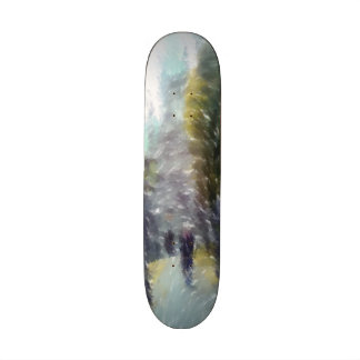 Edited photo building and trees skate deck