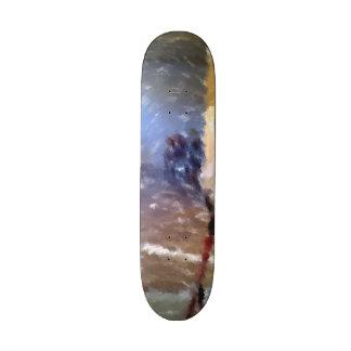 edited photo of a room skate board decks