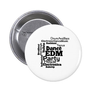 EDM Dance Party Word Cloud 2 Inch Round Button