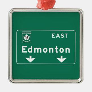 Edmonton, Canada Road Sign Silver-Colored Square Ornament