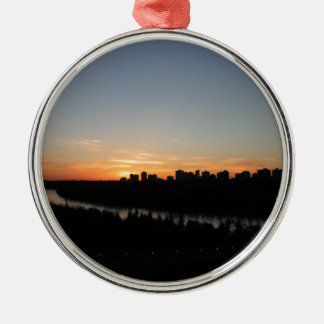 Edmonton Skyline after Sunset Silver-Colored Round Ornament