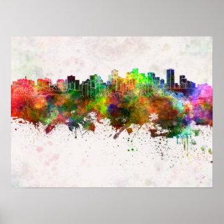 Edmonton skyline in watercolor background poster