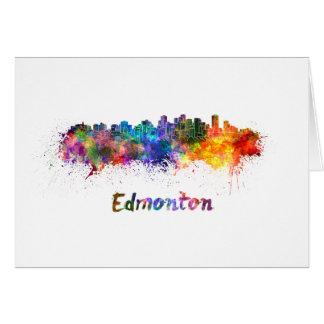 Edmonton skyline in watercolor card