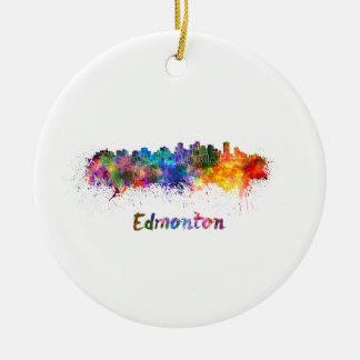 Edmonton skyline in watercolor round ceramic ornament