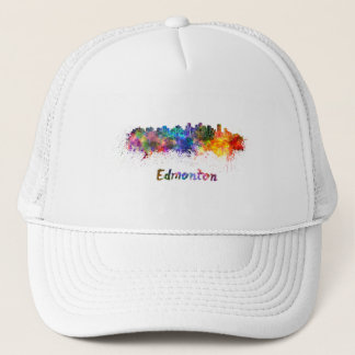 Edmonton skyline in watercolor trucker hat