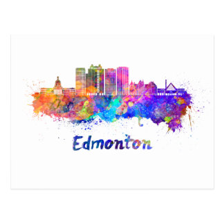 Edmonton V2 skyline in watercolor Postcard