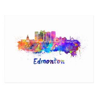 Edmonton V2 skyline in watercolor Postcard