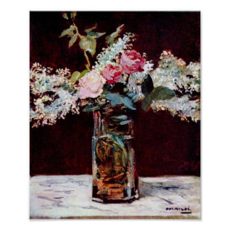 Edouard Manet - lilas et roses toujours de la vie Poster