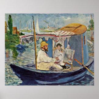 edouard Manet - Portrait de Claude Monet Poster