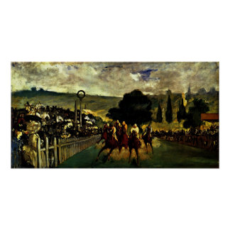 edouard Manet - race at Longchamp Poster
