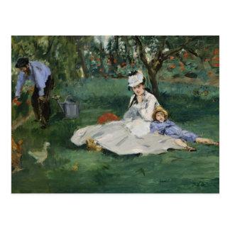 Edouard Manet - The Monet Family in Their Garden Postcard