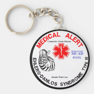 EDS Type 3 with POTS MCAD Medical Alert with Zebra Keychain