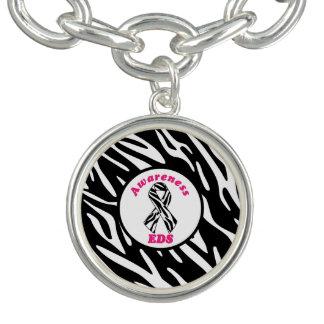 EDS Zebra Print Awareness Ribbon Charm Bracelet
