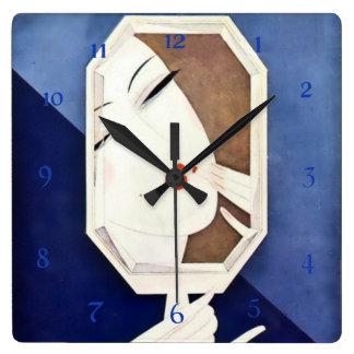 Eduardo Benito Art Deco Woman With Mirror Square Wall Clock