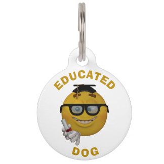 Educated Dog 3d Style Personalized Pet Name Tag