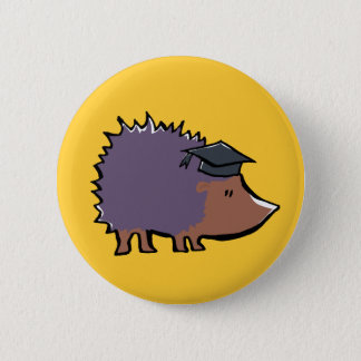 educated hedgehog 2 inch round button
