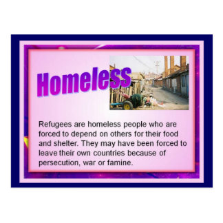Education, Citizenship,Refugees, Homeless Postcard
