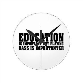 Education Is Important Bass Player Black Text Wallclock