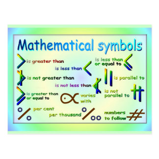 Education, Mathematical symbols Postcard