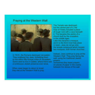 Education,  Religion,  Judaism, western wall Postcard