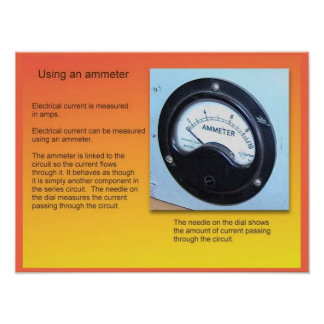 Education, Science, Electricity, Ammeter Poster