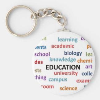 Education Words Basic Round Button Keychain