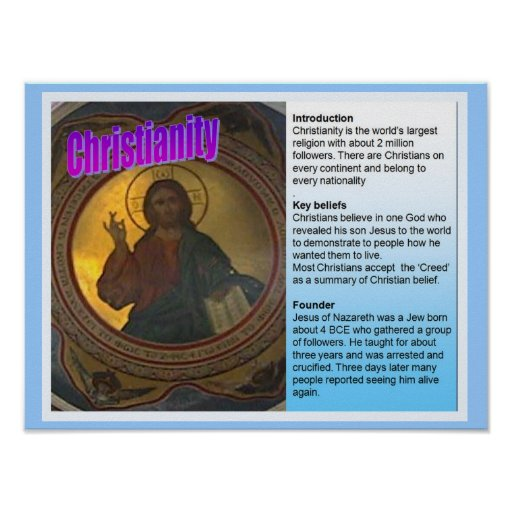 Education, World Religions, Christianity Fact File Poster