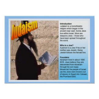 Education, World Religions,  Judaism Fact File Poster