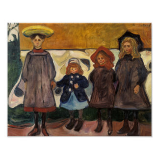 Edvard Munch - Four Girls in Asgardstrand Poster