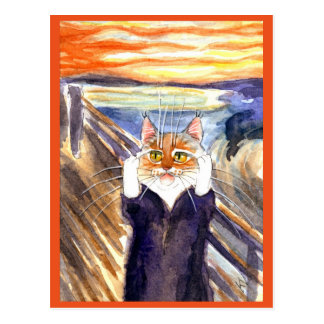 Edvard Munch Scream cute cat spoof postcard