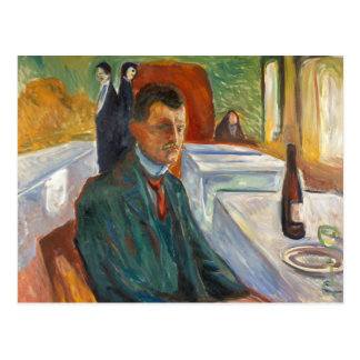Edvard Munch - Self-Portrait with a Bottle of Wine Postcard