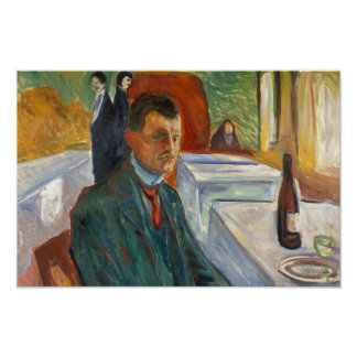 Edvard Munch - Self-Portrait with a Bottle of Wine Poster