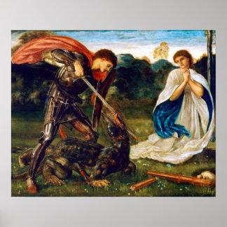 Edward Burne-Jones Fight St. George Kills Dragon Poster